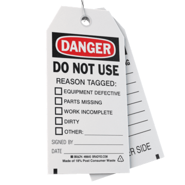 Machine & Equipment Safety Tags
