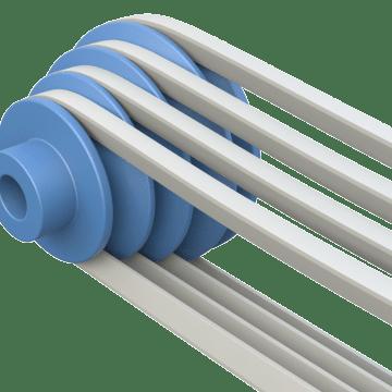 Adjustable-Speed Stepped V-Belt Pulleys