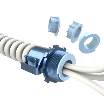 Flexible Conduit Connectors with Multiple End Bushings