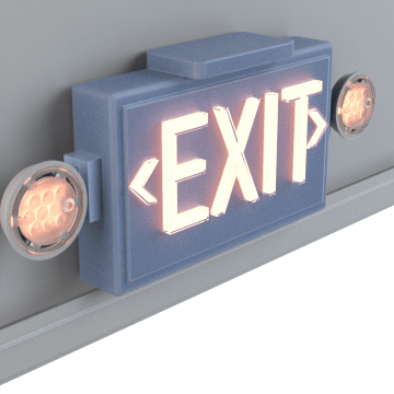 Exit Signs with Emergency Lighting