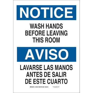 Bilingual Notice Wash Your Hands Before Leaving This Room