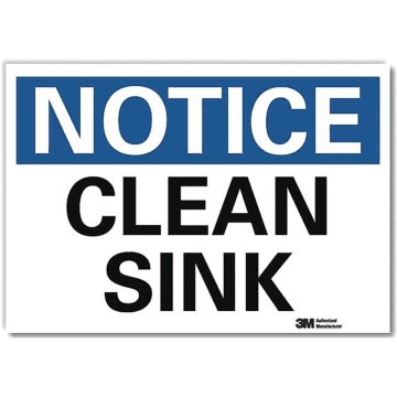 Notice Clean Sink