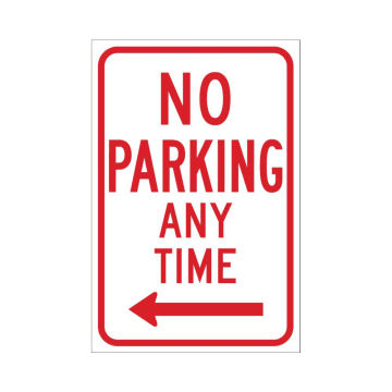 No Parking Any Time (Left Arrow)