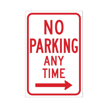 No Parking Any Time (Right Arrow)
