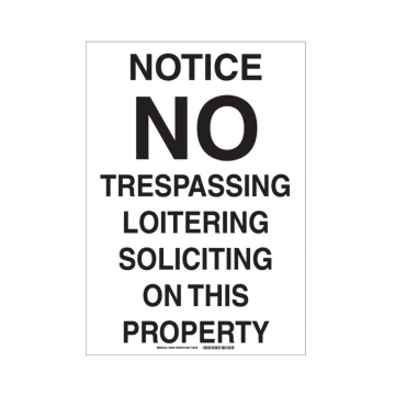 Notice No Trespassing Loitering Soliciting on This Property