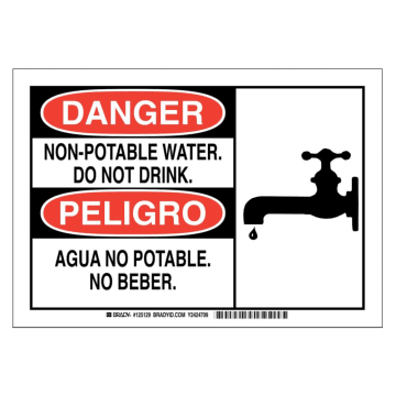 Bilingual Danger Non-Potable Water Do Not Drink