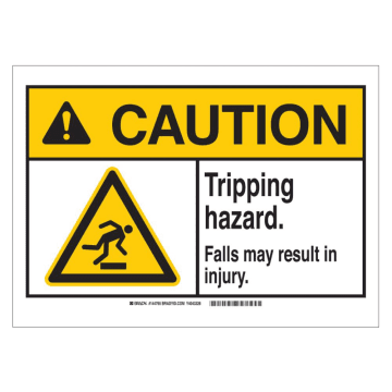 Caution Tripping Hazard Falls May Result In Injury