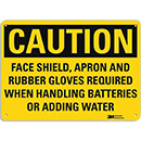 Caution Face Shield, Apron and Rubber Gloves Required