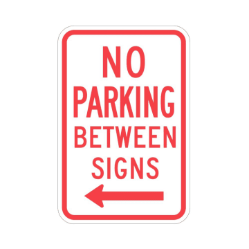 No Parking Between Signs (Left Arrow)