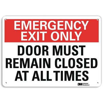 Emergency Exit Only Door Must Remain Closed at All Times
