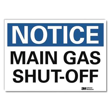 Notice Main Gas Shut Off
