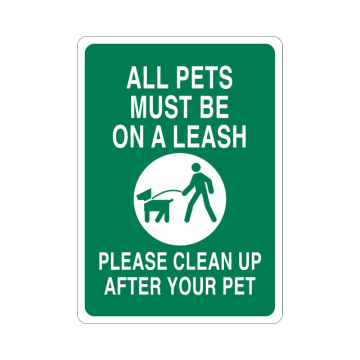 All Pets Must Be On A Leash; Please Clean Up After Your Pet