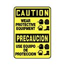 Bilingual Caution Wear Protective Equipment