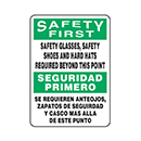 Bilingual Safety First Safety Glasses, Safety Shoes and Hard Hats Required