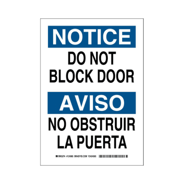 Bilingual Notice Do Not Block Door