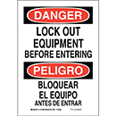 Bilingual Danger Lock Out Equipment Before Entering