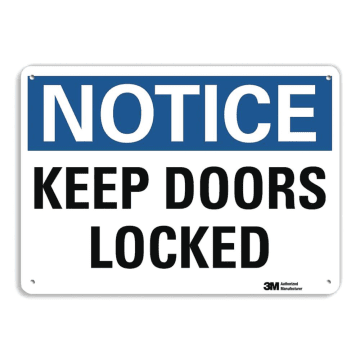 Notice Keep Door Locked