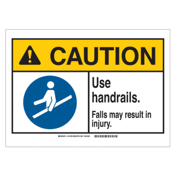 Caution Use Handrails Falls May Result In Injury