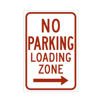 No Parking Loading Zone (Right Arrow)
