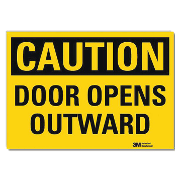Caution Door Opens Outward