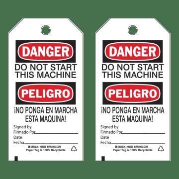 Bilingual Danger Do Not Start This Machine
