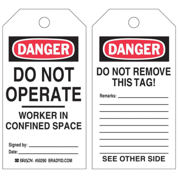 Danger Do Not Operate Worker In Confined Space