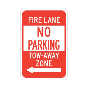 Fire Lane No Parking Tow-Away Zone (Left Arrow)
