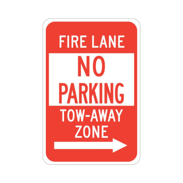 Fire Lane No Parking Tow-Away Zone (Right Arrow)
