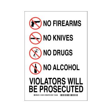 No Firearms No Knives No Drugs No Alcohol Violators Will Be Prosecuted