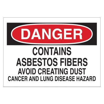 Danger Contains Asbestos Fibers Avoid Creating Dust
