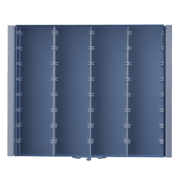 4 Fixed Compartments per Drawer with 9 Adjustable Dividers