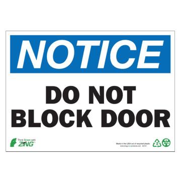 Notice Do Not Block Door