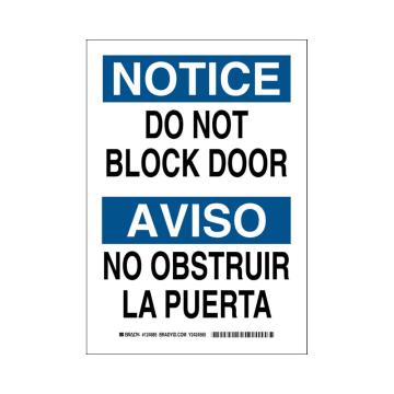 Bilingual Notice Do Not Block Door