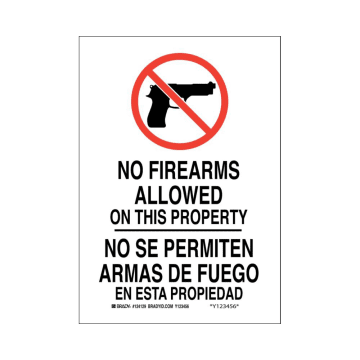 Bilingual No Firearms Allowed on This Property