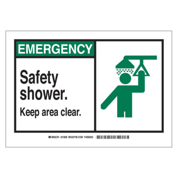 Emergency Safety Shower Keep Area Clear