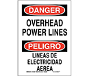 Bilingual Danger Overhead Power Lines