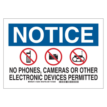 Notice No Phones Cameras or Other Electronic Devices Permitted